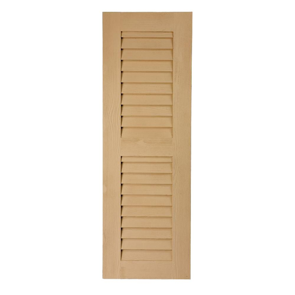 48 Inch x 16 Inch x 1 Inch Louvered with Center Rail Wood Grain Texture Shutter LVSH16X48FNCR3S in Canada