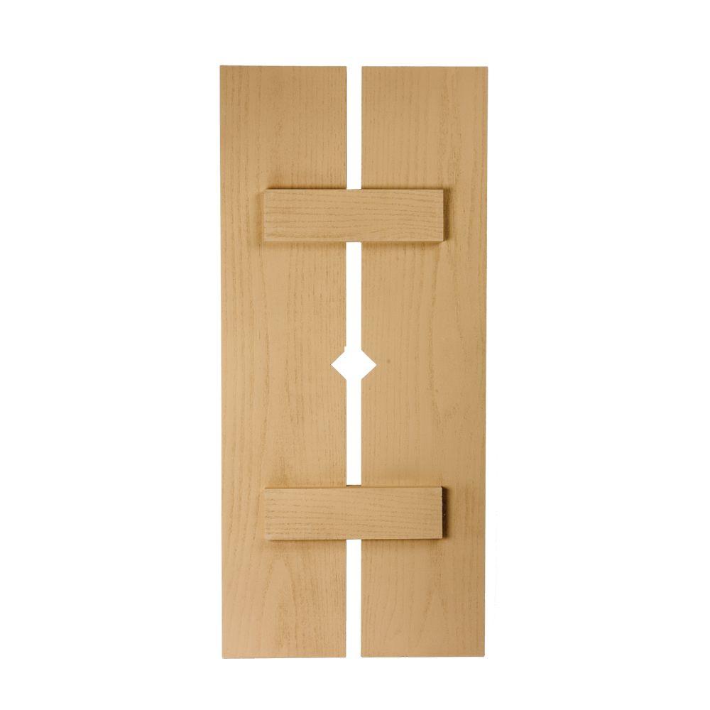 40 Inch x 18 Inch x 1-1/2 Inch Diamond Wood Grain Texture 2-Plank Board and Batten Shutter