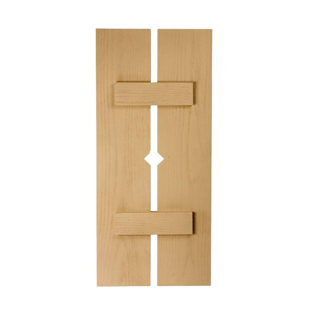 60 Inch x 18 Inch x 1-1/2 Inch Diamond Wood Grain Texture 2-Plank Board and Batten Shutter
