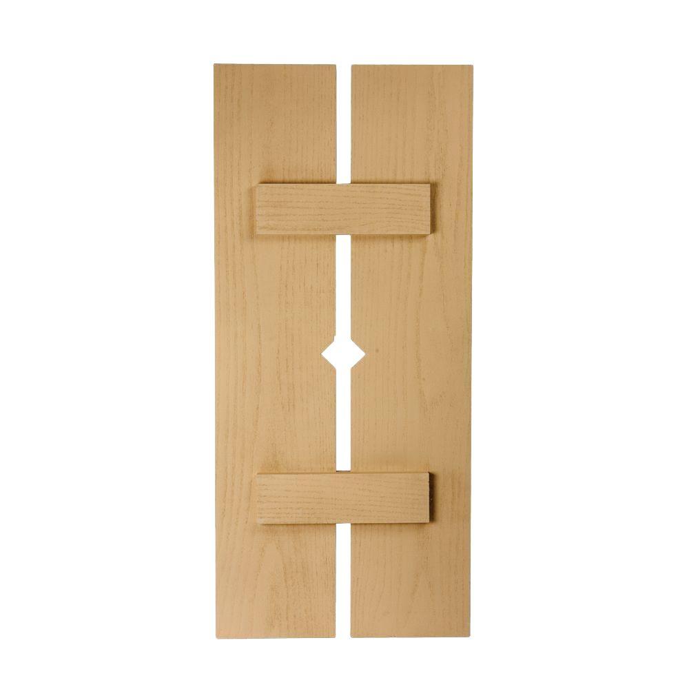 Volet à 2 planches et à tasseaux avec losange à texture de grain de bois 66 po x 18 po x 1-1/2 po...