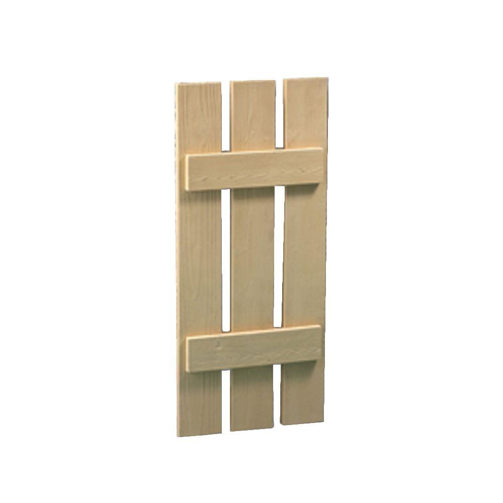 36 Inch x 16 Inch x 1-1/2 Inch Board and Batten Wood Grain Texture 3-Plank Shutter