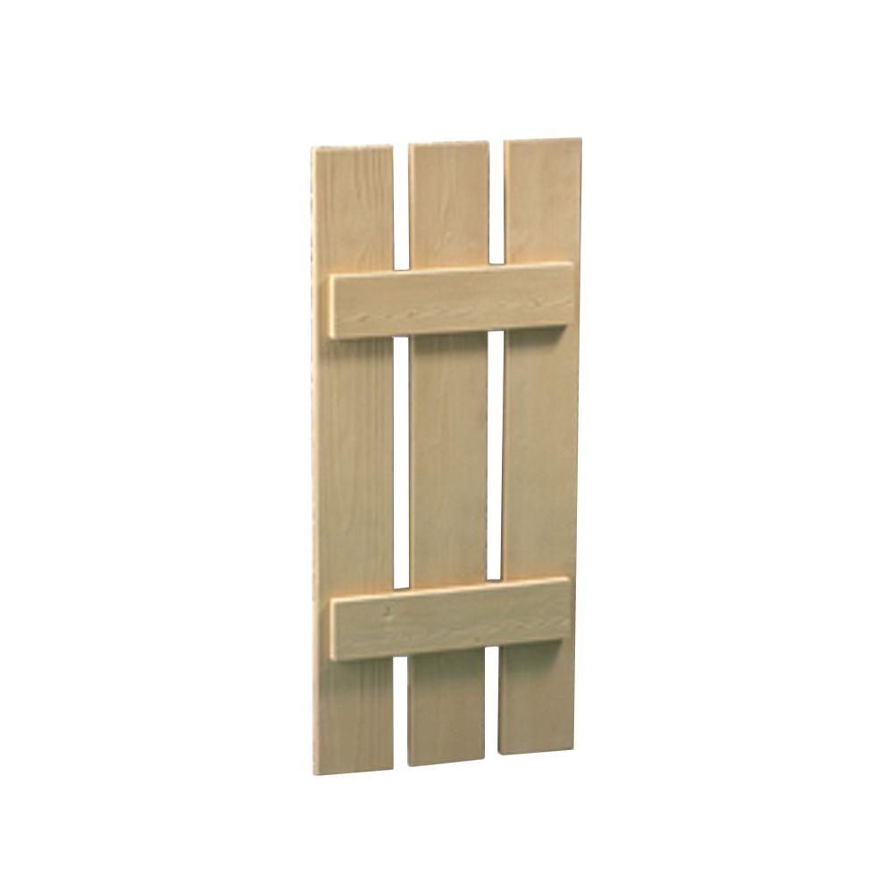 72 Inch x 16 Inch x 1-1/2 Inch Wood Grain Texture 3-Plank Board and Batten Shutter