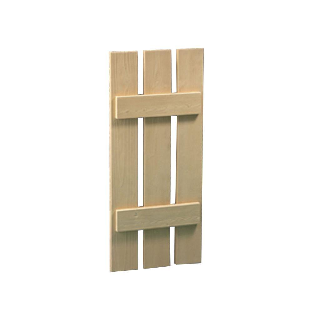 60 Inch x 18 Inch x 1-1/2 Inch Wood Grain Texture 3-Plank Board and Batten Shutter