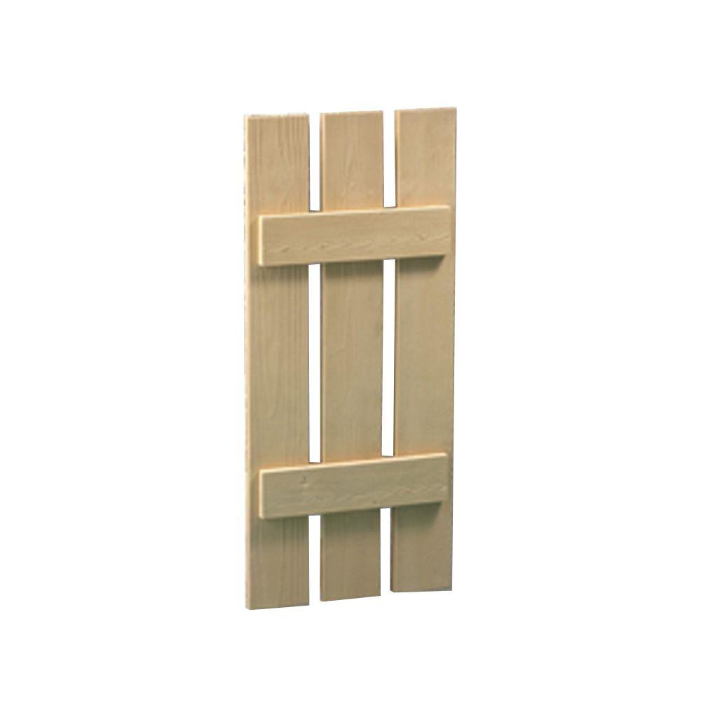 Volet à 3 planches et à tasseaux à texture de grain de bois 62 po x 18 po x 1-1/2 po