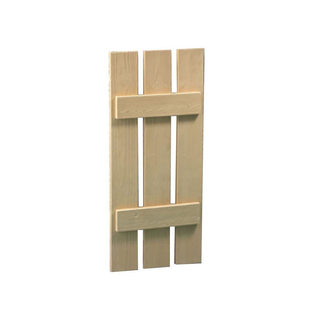 66 Inch x 18 Inch x 1-1/2 Inch Wood Grain Texture 3-Plank Board and Batten Shutter
