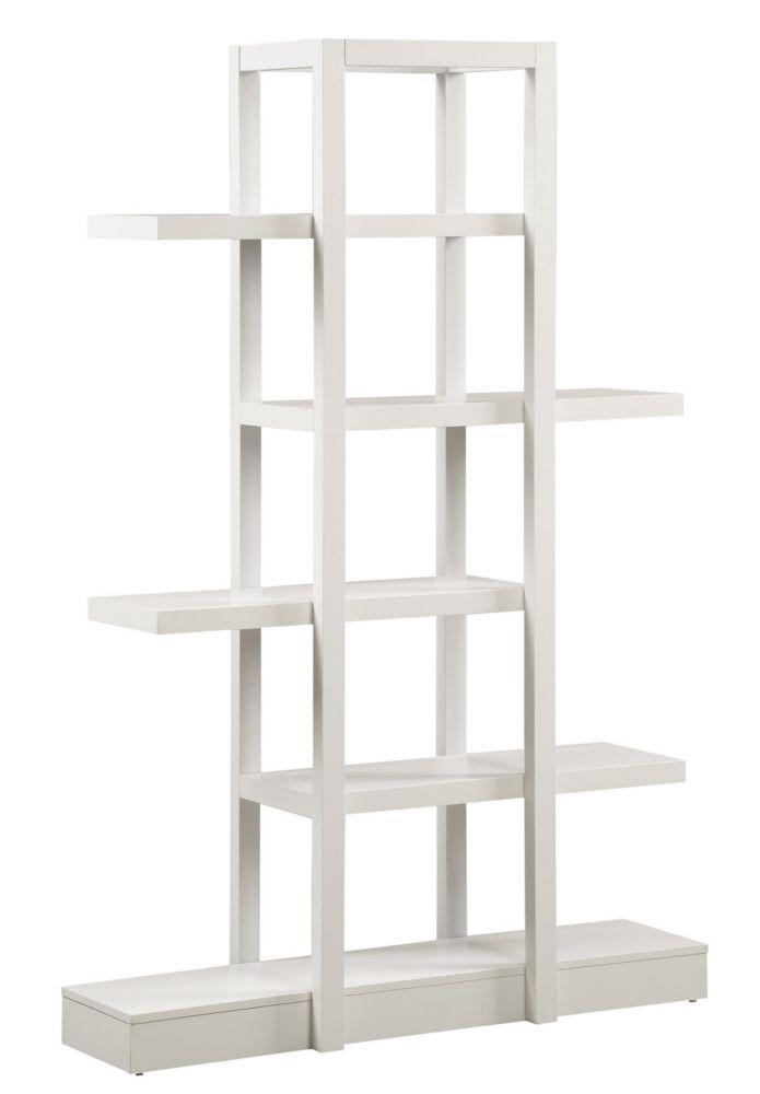 47-inch x 71-inch x 14-inch 5-Shelf Solid Wood Bookcase in White
