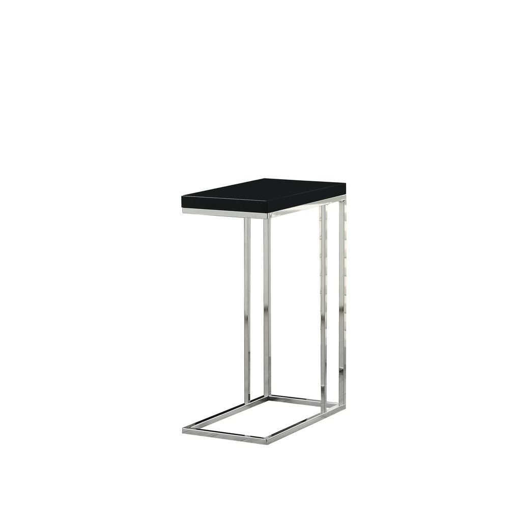 Accent Table - Glossy Black With Chrome Metal