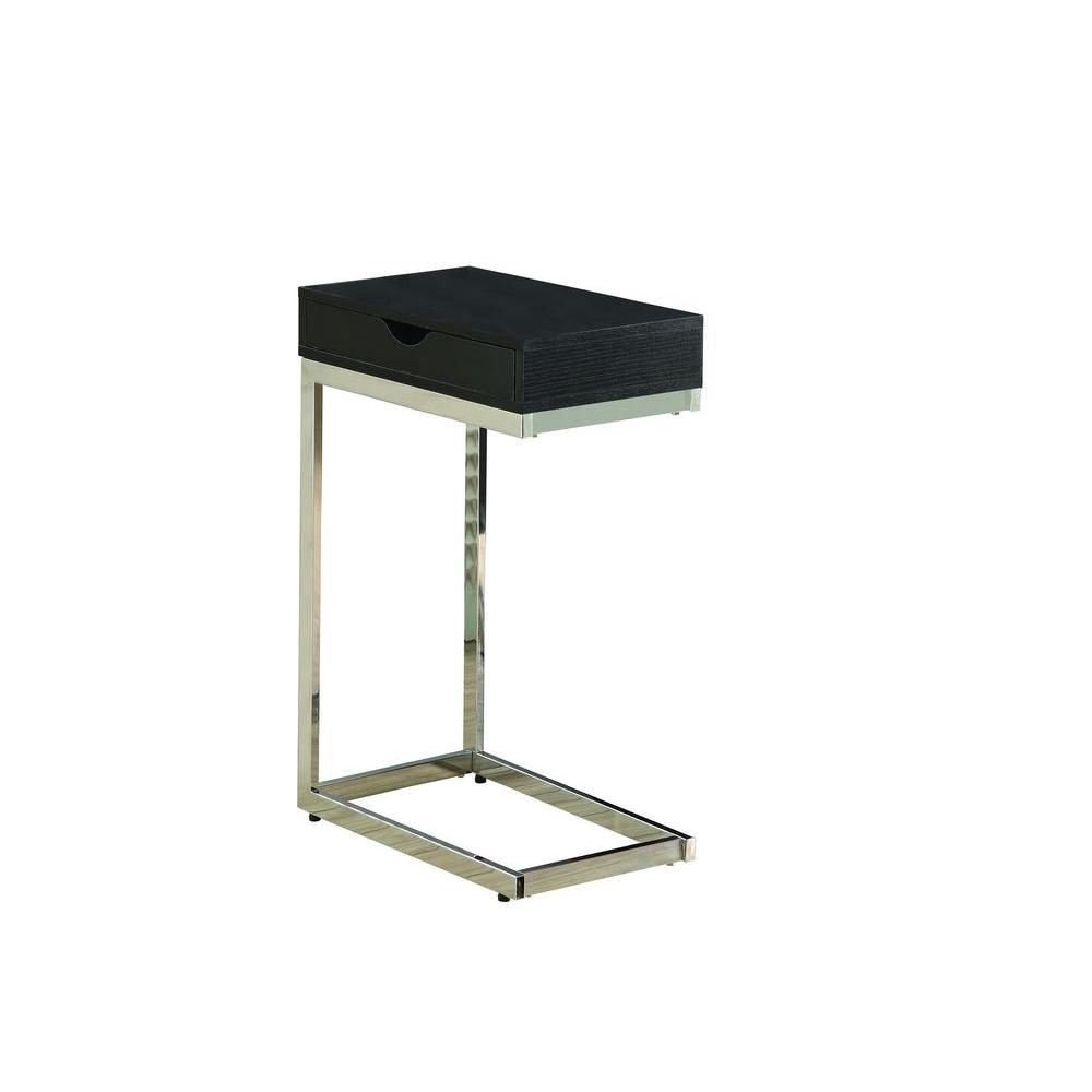 Monarch Specialties Accent Table - Cappuccino / Chrome Metal With A Drawer