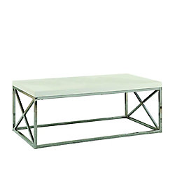 Monarch Specialties Cocktail Table with Glossy White Top in Chrome