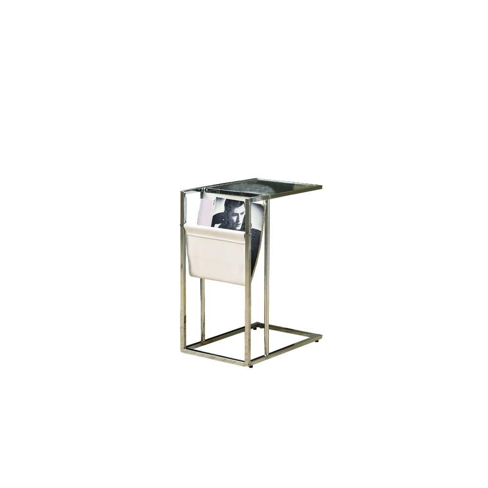 Table D'Appoint - Blanche / Chrome Avec Support Magazine