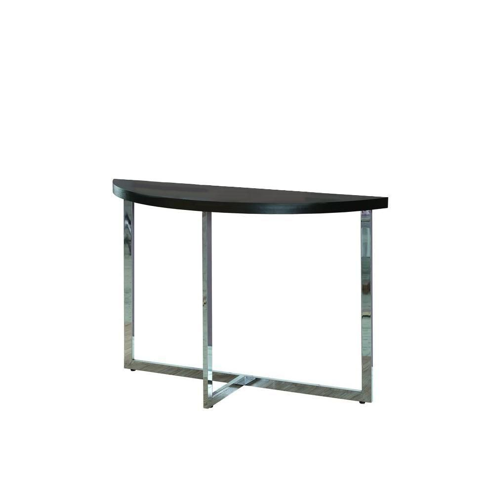 Console Table - Cappuccino With Chrome Metal