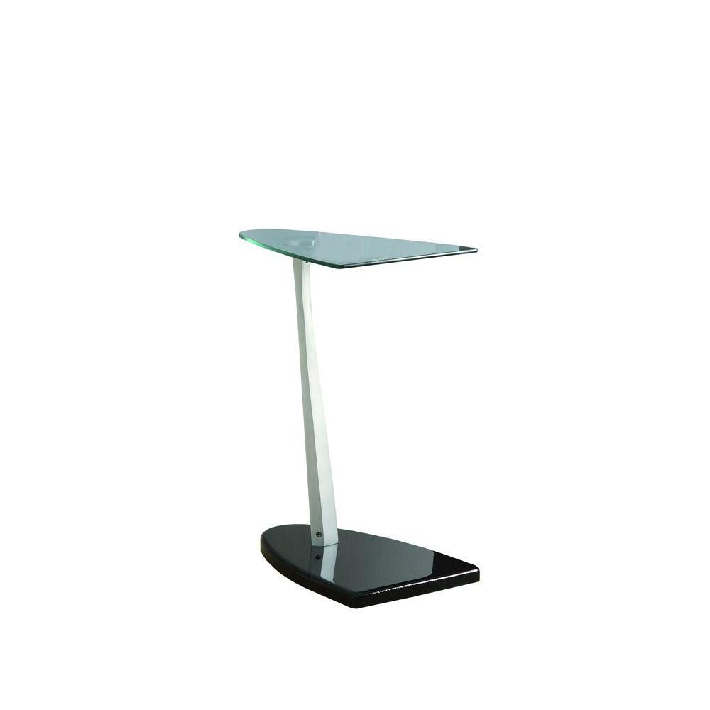 Accent Table - Black / Silver With Tempered Glass