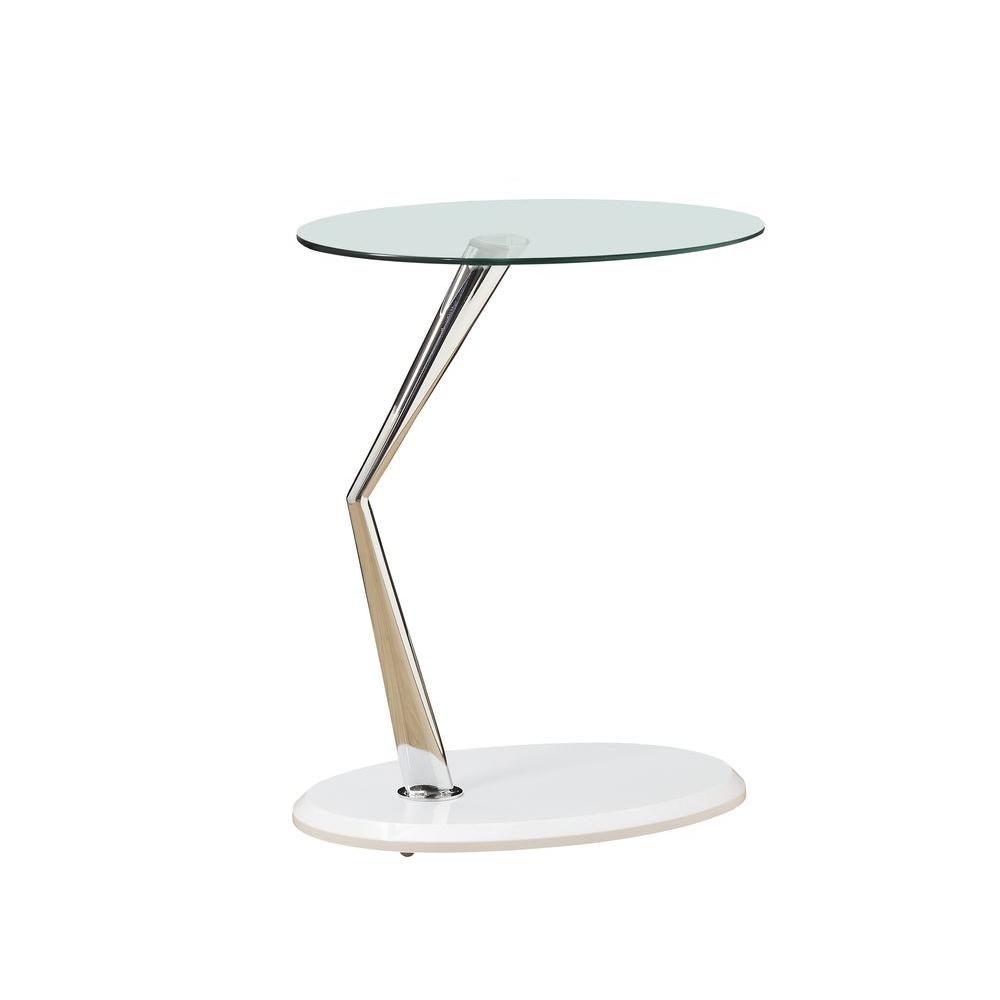 Table D'Appoint - Blanc Lustre / Chrome Avec Verre Trempe