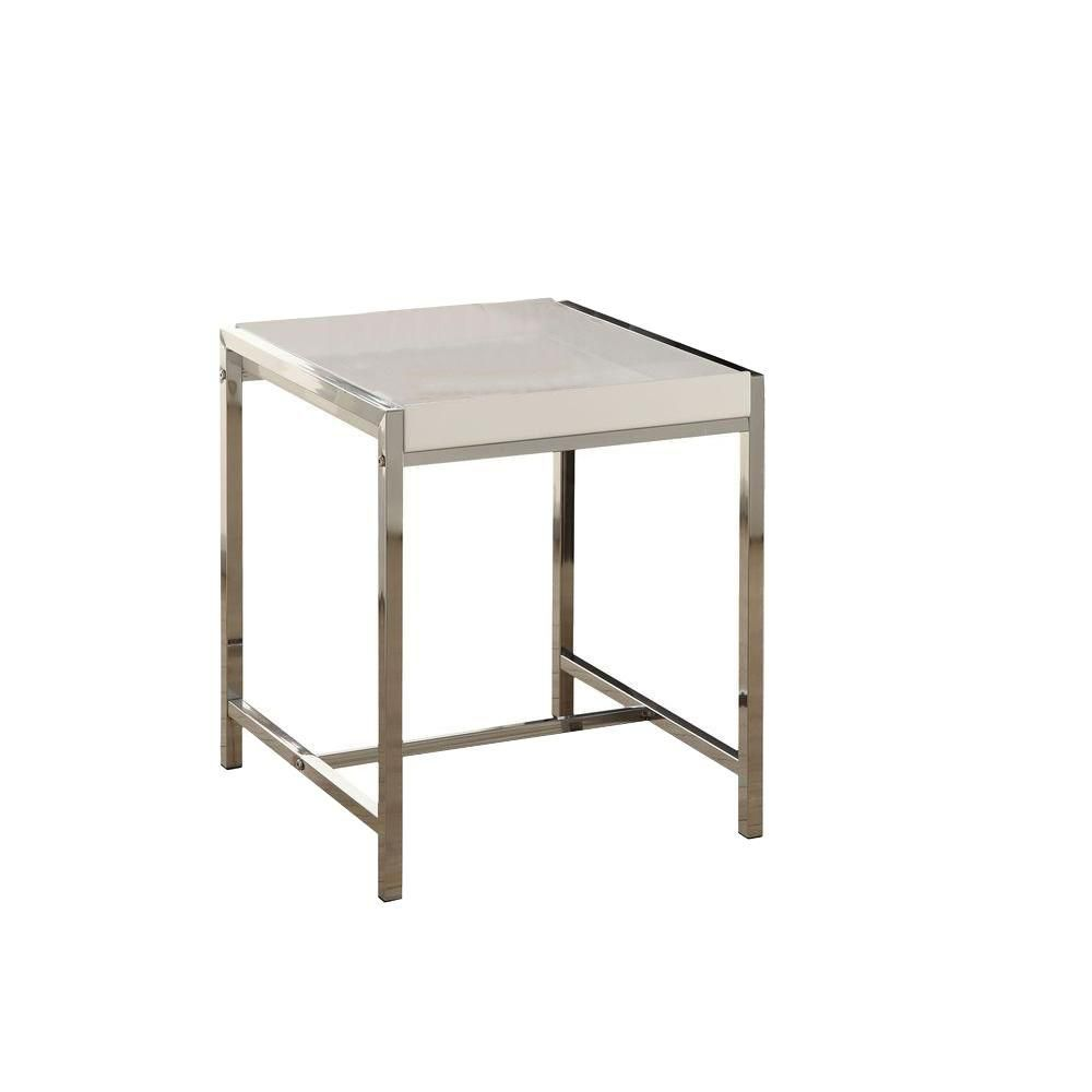 Accent Table - White Acrylic With Chrome Metal