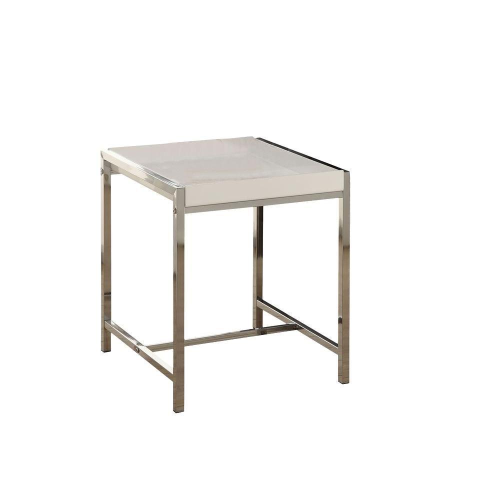 Table D'Appoint - Acrylique Blanc / Metal Chrome