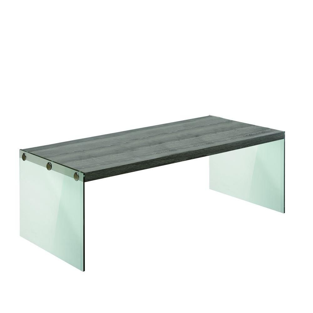 Monarch specialties table de salon taupe fonce verre trempe home depot - Table salon verre trempe ...