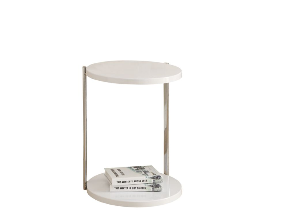 Table D'Appoint - Blanc / Metal Chrome