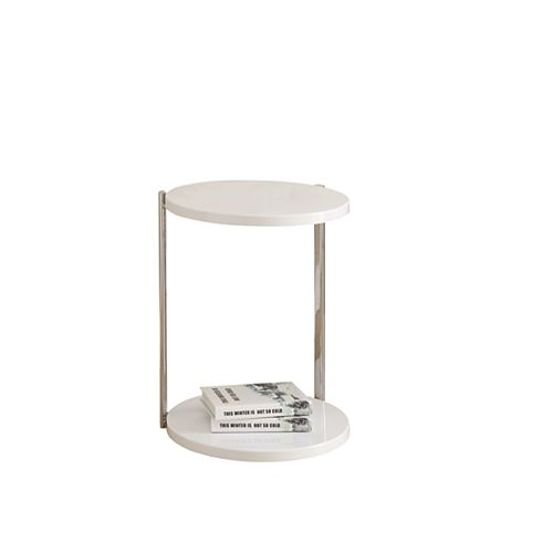 Monarch Specialties Accent Table - White / Chrome Metal