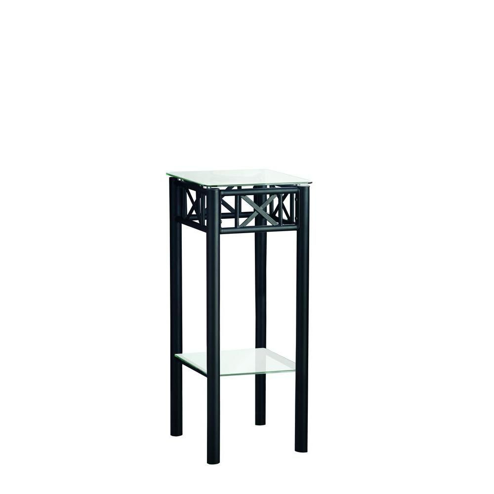 Accent Table - Black Metal With Tempered Glass