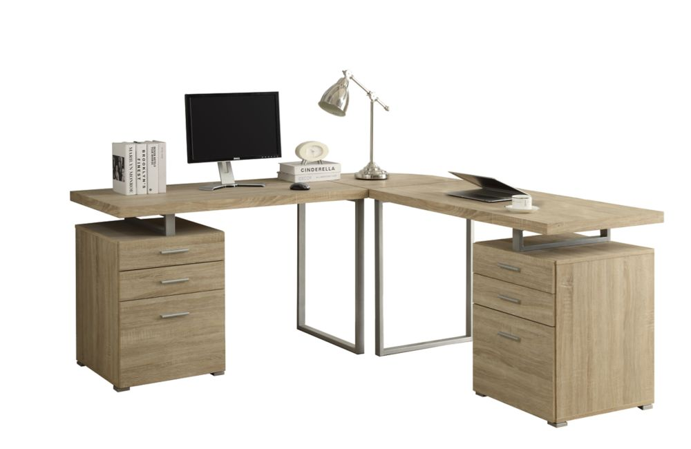 Monarch specialties computer desk natural l shaped corner desk the home depot canada - Corner desks canada ...