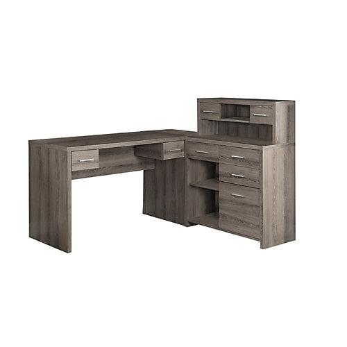 47-inch L-Shape Corner Computer Desk with Storage in Dark Taupe