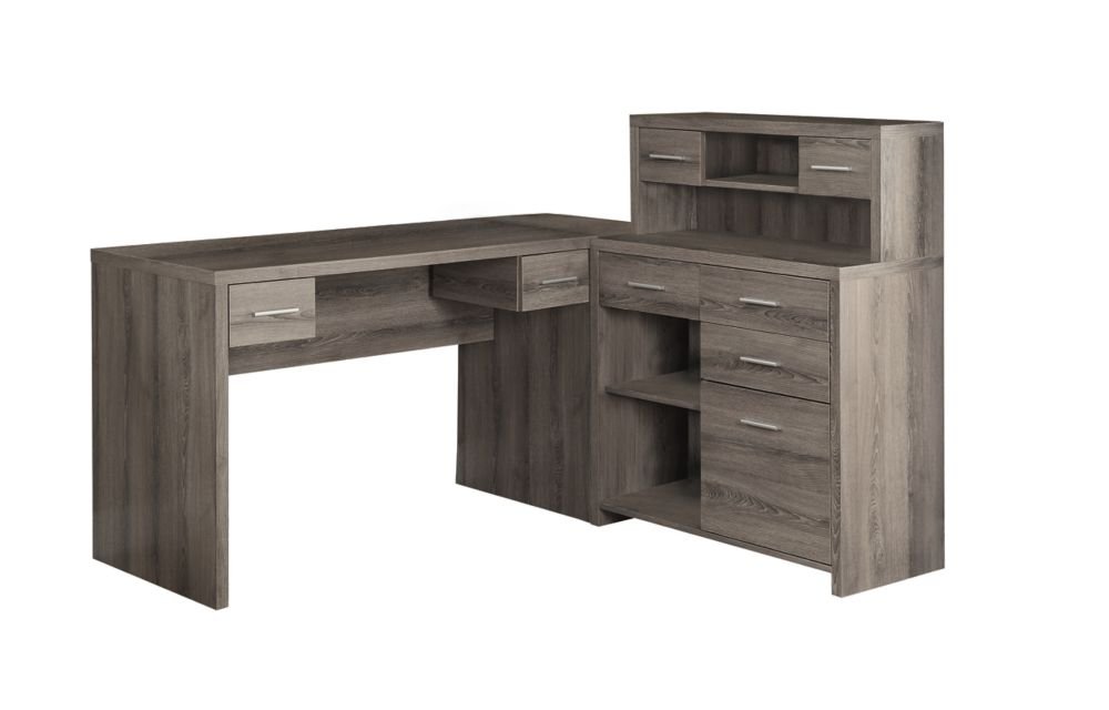 Monarch Specialties 47 Inch L Shape Corner Computer Desk With Storage In Dark Taupe The Home Depot Canada