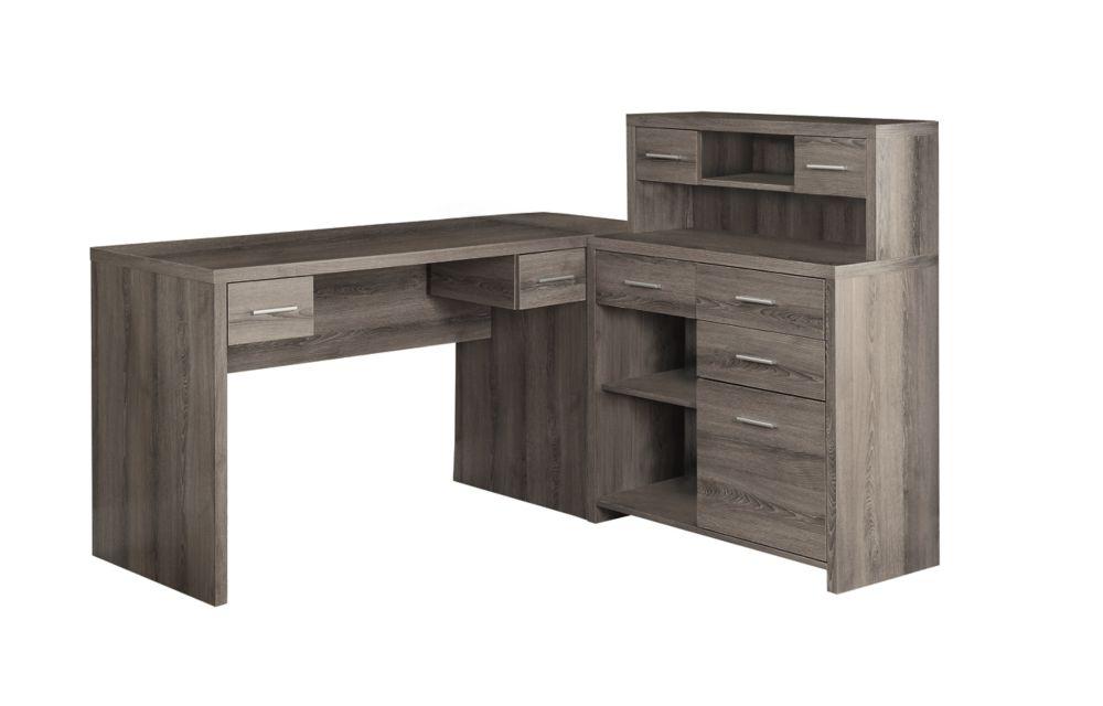 Monarch Specialties 47-inch L-Shape Corner Computer Desk with Storage in Dark Taupe