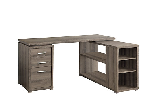 60 Inch L Adjule Shaped Desk With Storage In Dark Taupe