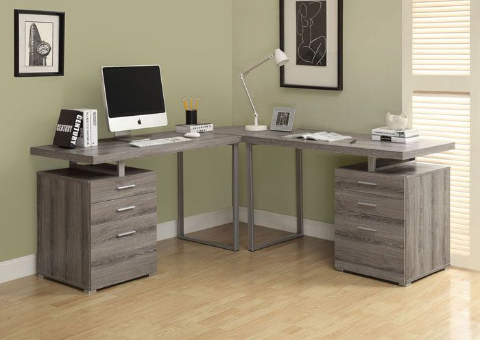 Computer Desk - Dark Taupe L Shaped Corner Desk