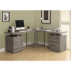 Bureau d'ordinateur en coin, 72po x 30po x 72po, gris
