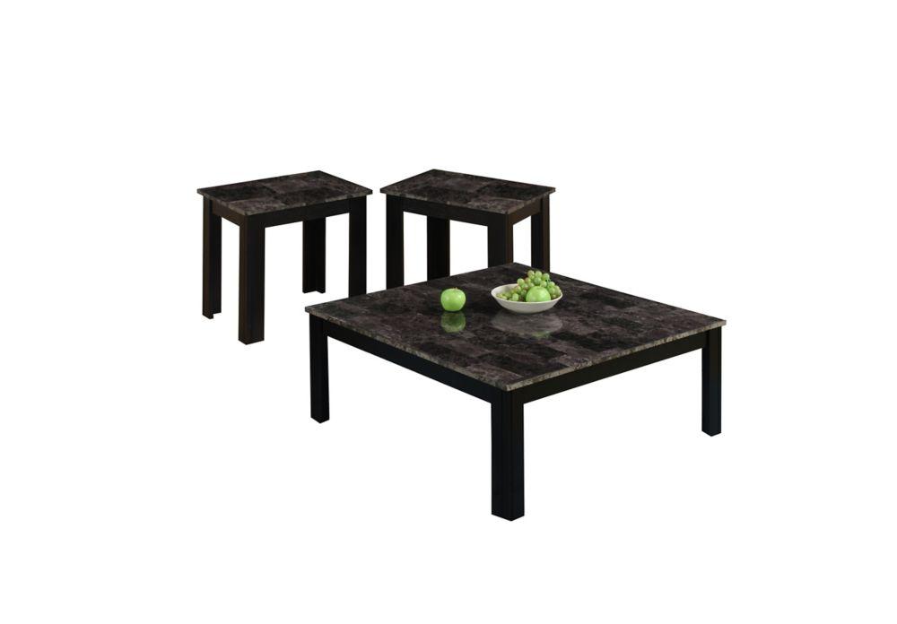 Ens. De Tables - 3Pcs / Gris / Noir / Dessus Marbre