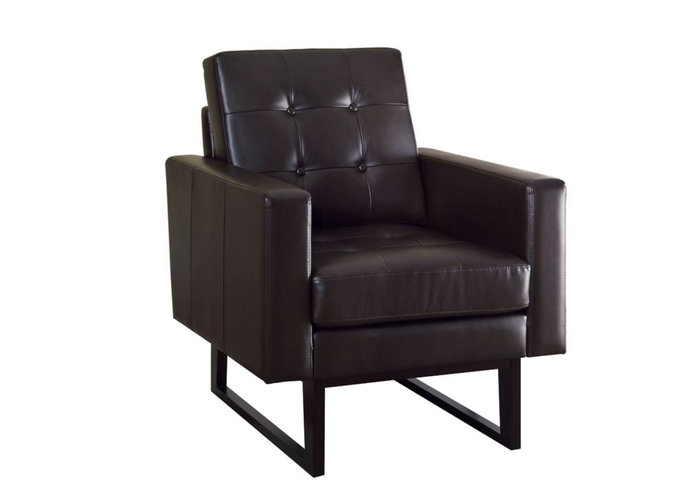 Accent Chair - Dark Brown Bonded Leather / Match Fabric
