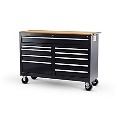 54-inch 10-Drawer Roller Cabinet Tool Chest in Black with Hardwood Worktop