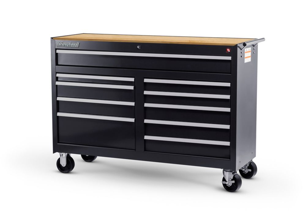 International 54-inch 10-Drawer Roller Cabinet Tool Chest in Black with Hardwood Worktop