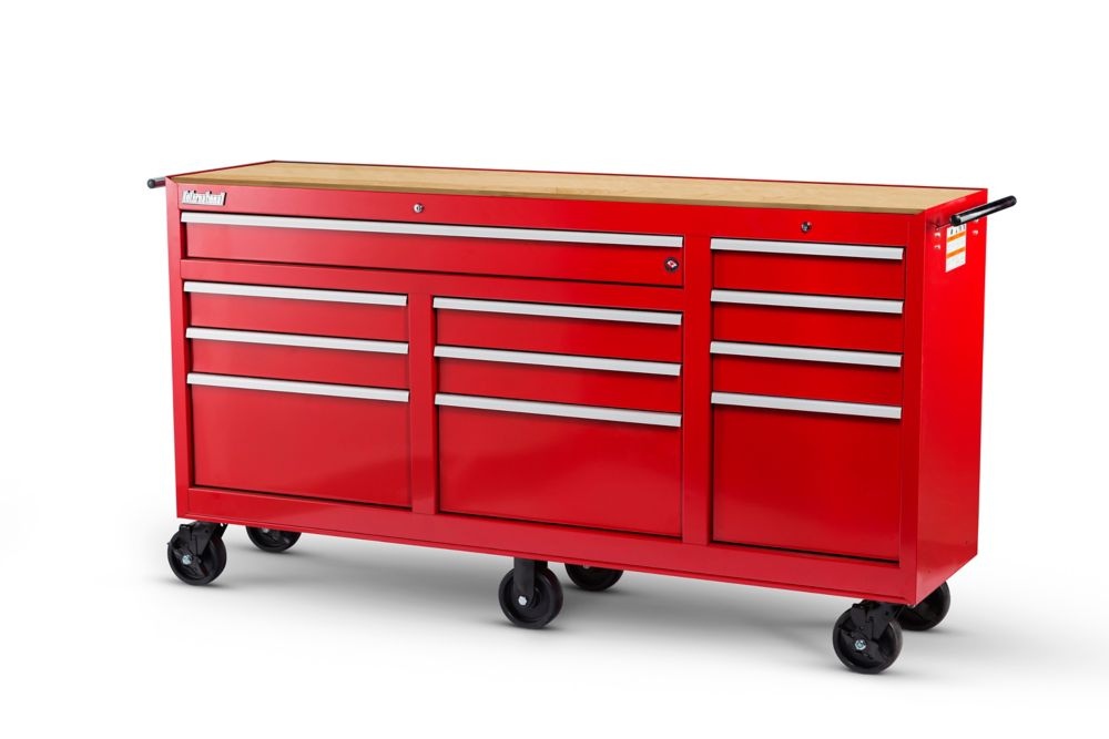 73 Inch. 11 Drawer Cabinet with Hardwood Top, Red