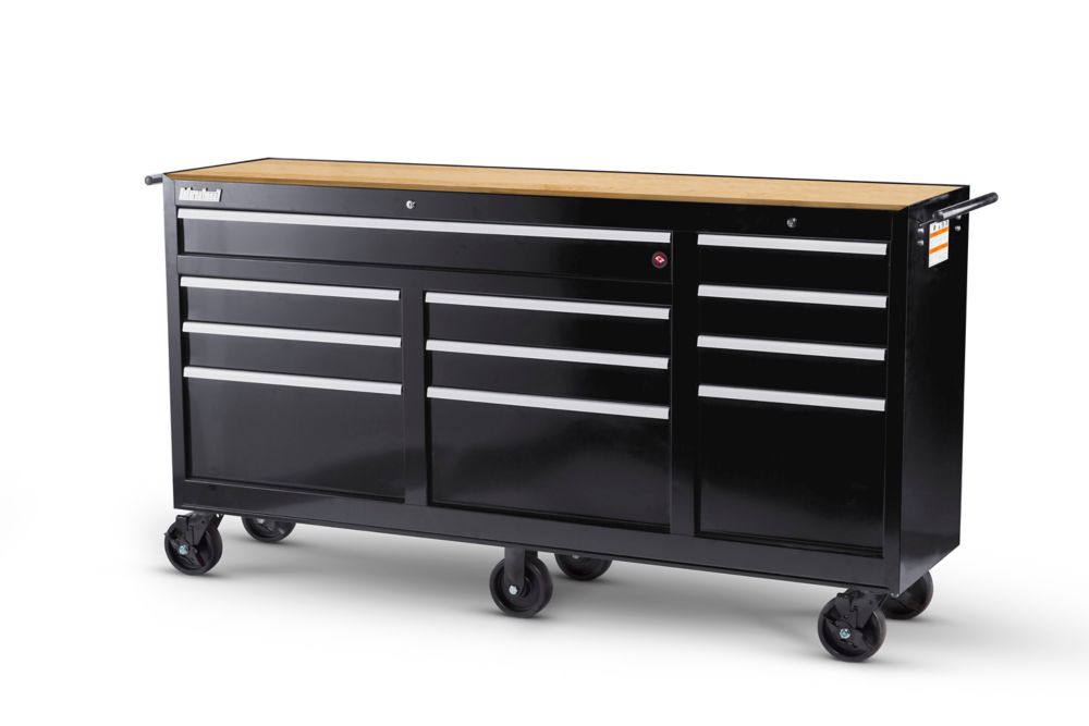 73 Inch. 11 Drawer Cabinet with Hardwood Top, Black