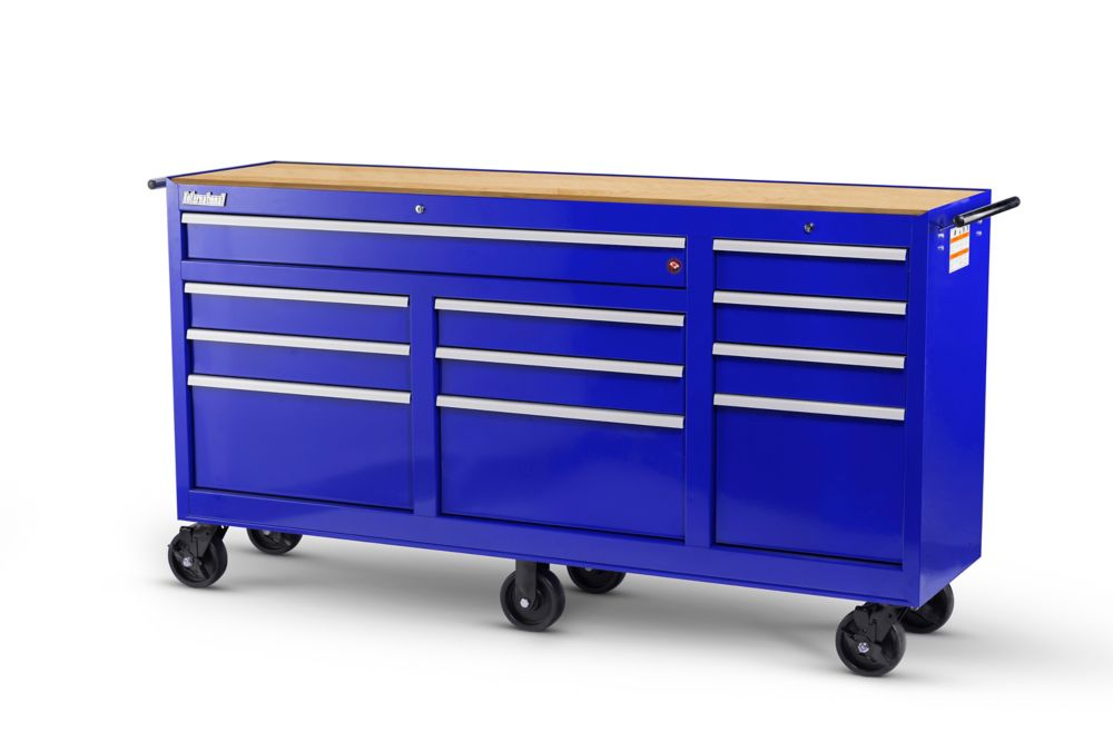 73 Inch. 11 Drawer Cabinet with Hardwood Top, Blue WRB-7311WTBU Canada Discount