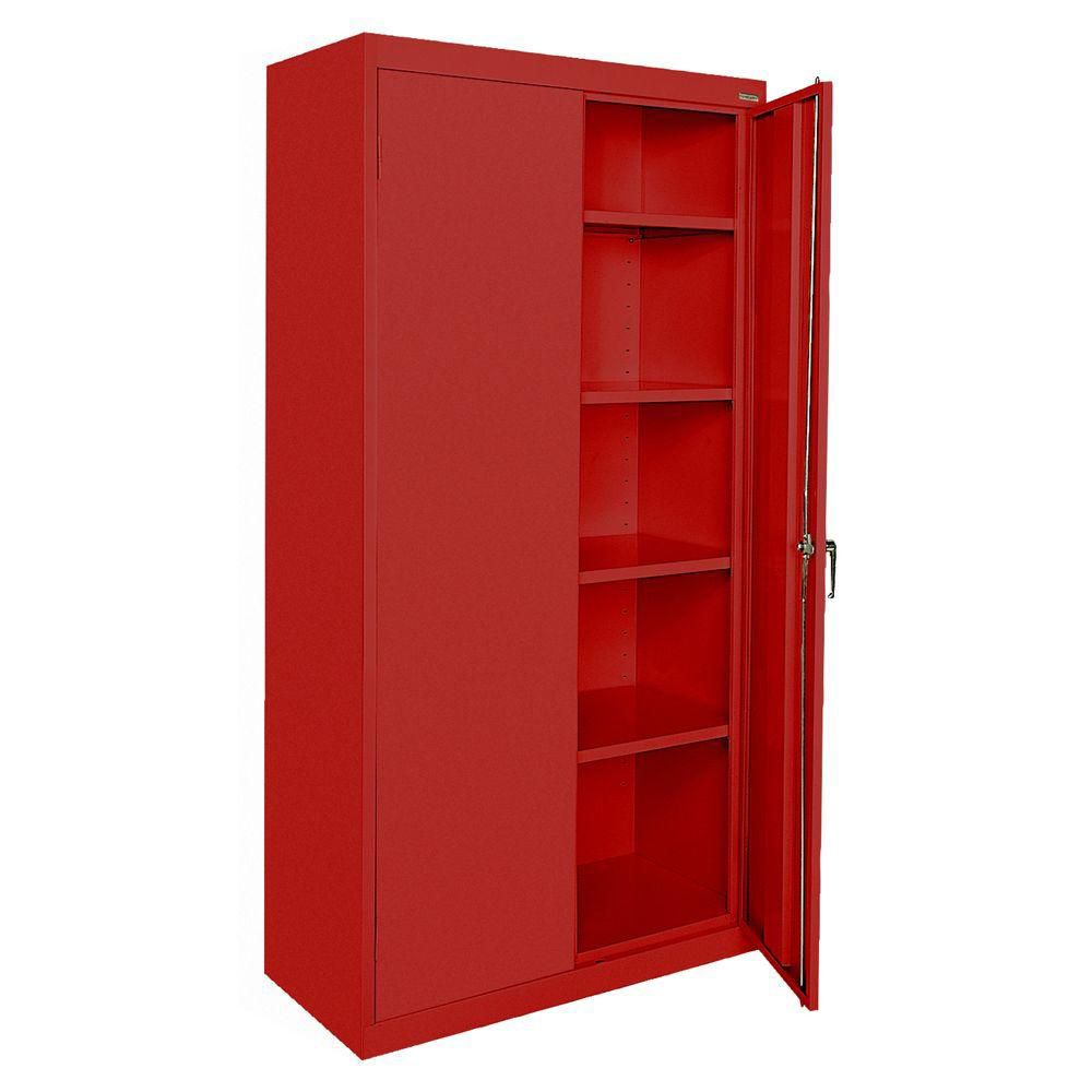 Classic Series 36 Inch W x 72 Inch H x 18 Inch D Storage Cabinet with Adjustable Shelves in Red