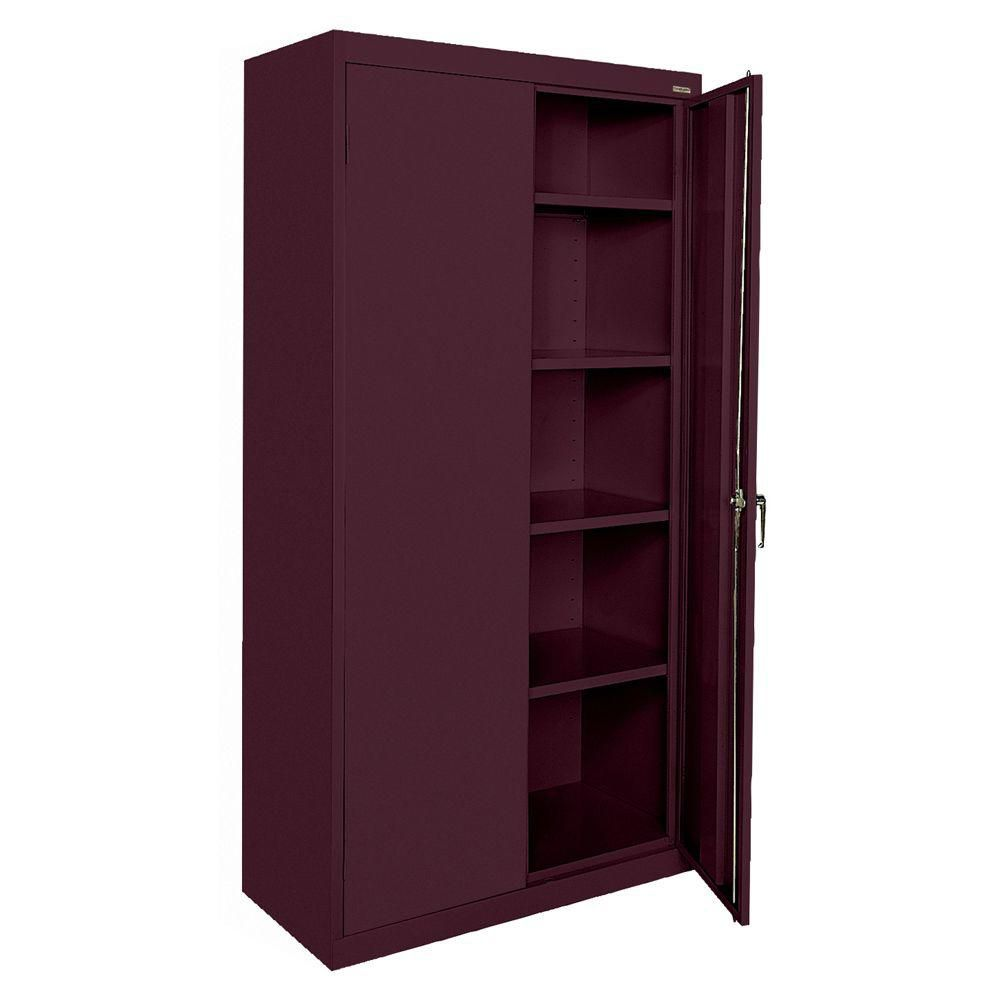 Classic Series 36 Inch W x 72 Inch H x 18 Inch D Storage Cabinet with Adjustable Shelves in Burgundy CA41361872-03 Canada Discount