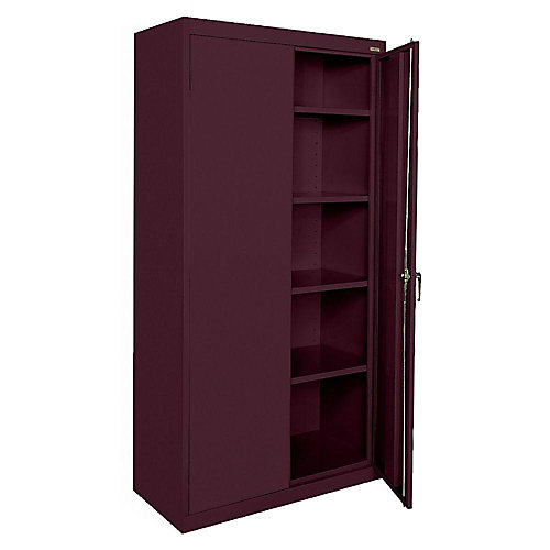 36-inch W x 72-inch H x 18-inch D Storage Cabinet with Adjustable Shelves in Burgundy