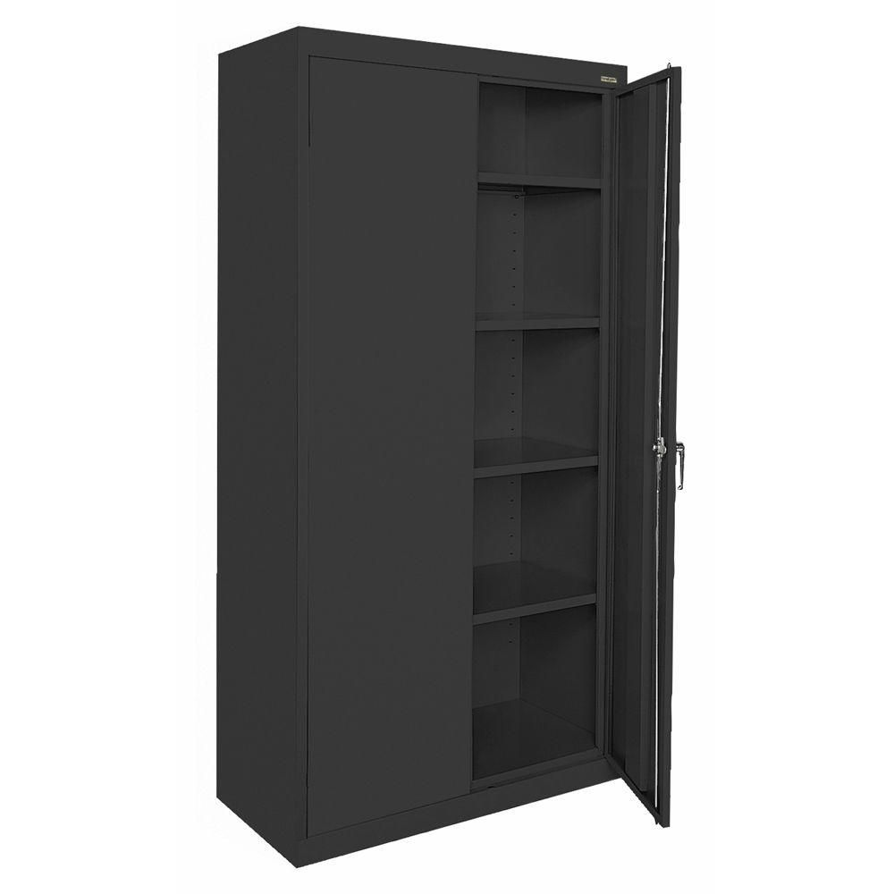 Classic Series 36 Inch W x 72 Inch H x 18 Inch D Storage Cabinet with Adjustable Shelves in Black