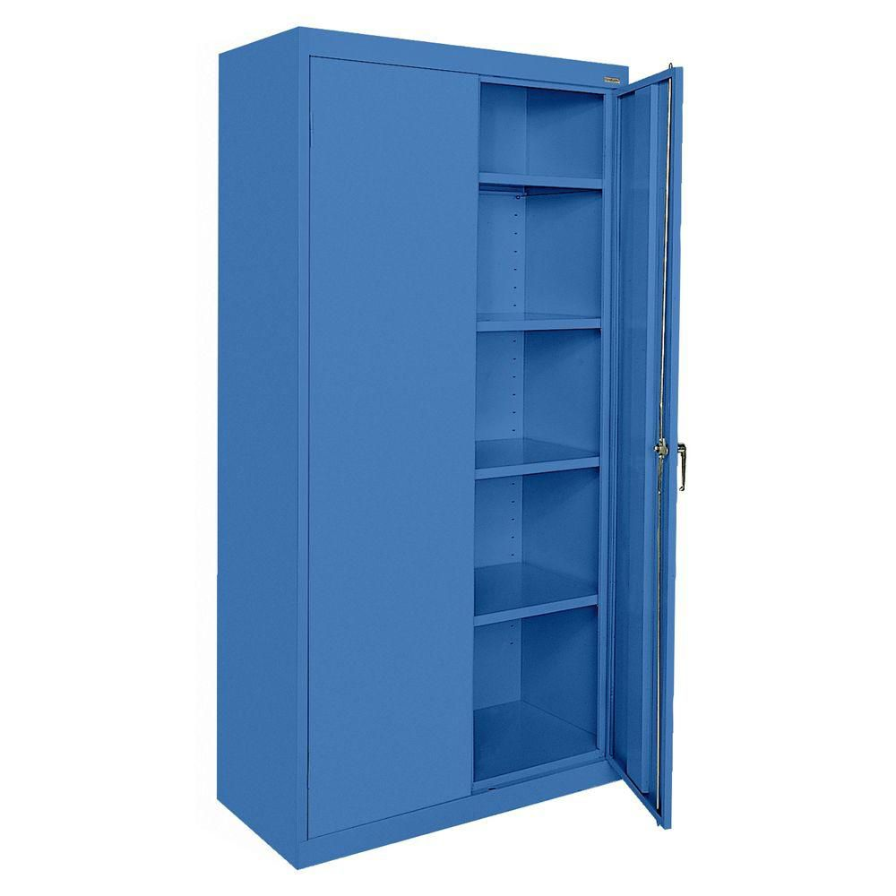 Classic Series 36 Inch W x 72 Inch H x 18 Inch D Storage Cabinet with Adjustable Shelves in Blue