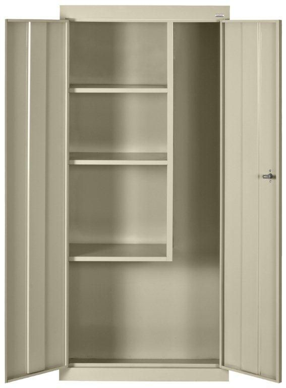 Classic Series Classic Series 30 Inch L x 15 Inch D x 66 Inch H Freestanding Steel Janitorial/Supply Cabinet in Putty
