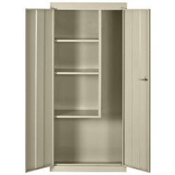 Classic Series 30-inch L x 15-inch D x 66-inch H Freestanding Steel Janitorial/Supply Cabinet in Putty