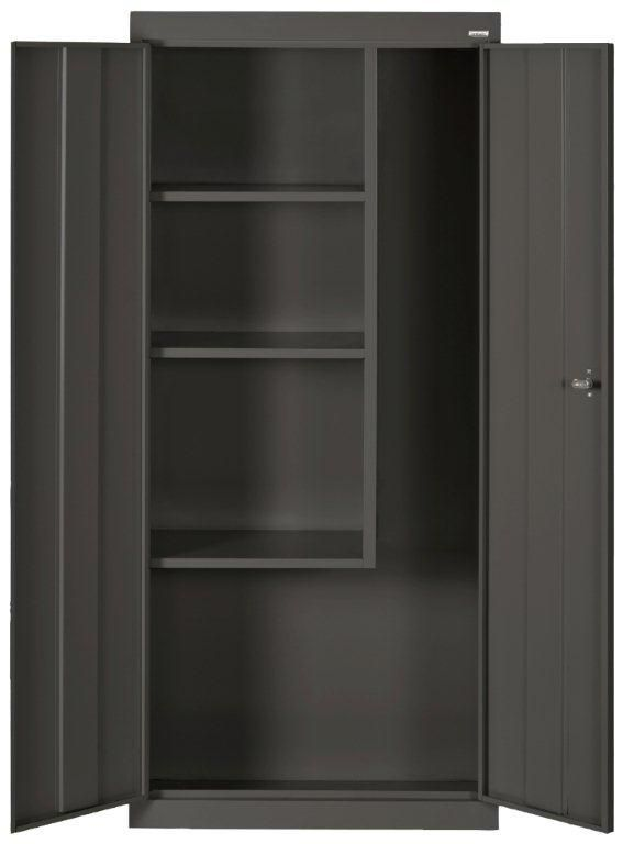Classic Series 66-inch H x 30-inch W x 15-inch D Steel Freestanding Combination Storage Cabinet in Black