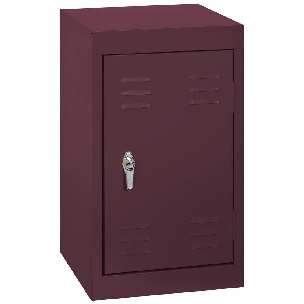 15 Inch L x 15 Inch D x 24 Inch H Single Tier Welded Steel Locker in Burgundy