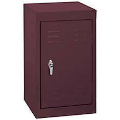 15 Inch L x 15 Inch D x 24 Inch H Single Tier Welded Steel Locker in Burgundy