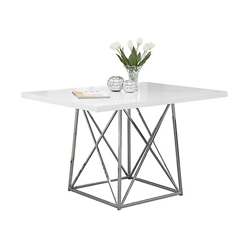 Monarch Specialties Dining Table 36 X 48 White Glossy Chrome