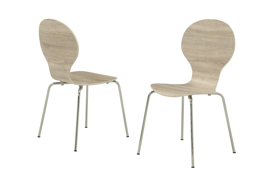 """Dining Chair - 4Pcs / 34""""H / Natural Bentwood With Chrome"""