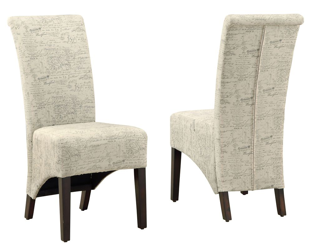 Vintage 40-inch H Parson Dining Chair Set in Vintage French Fabric (2-Piece)